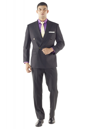 This iconic mens custom made dark blue double breasted suit in 120s wool - featuring a handmade double breasted jacket and custom made slim fit dress pants - is perfect for board meetings and corporate events. The mens made to order slim fit dinner jacket has 4 front buttons with 1 to close, 2 peak lapels with 1 boutonniere on the left lapel, 1 upper welt pocket, 2 lower flapped pockets, and a center vent. The mens bespoke slim fit dress pants have hand sewn cuff hems, a zip fly, and a 2 point button and hook closure.