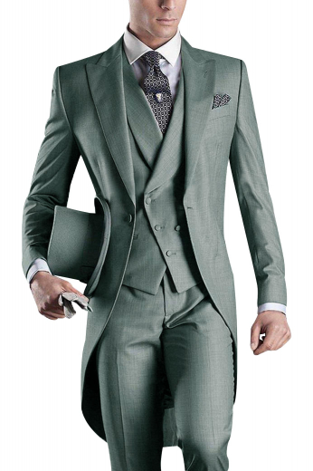 This mens handmade grey tailed tuxedo suit in wool features a bespoke double breasted vest, tuxedo pants, and a handmade slim fit jacket. The mens tailor made tail jacket features peak lapels with 1 boutonniere on the left lapel and 1 upper welt pocket. The mens custom made slim fit vest has a shawl collar, a cloth back with an adjustable buckle, 2 lower welted pockets, and 6 front buttons, 3 to close. And, the mens made to order slim fit dress pants have a 2 point button and hook closure, a zip fly, and 2 front slash pockets.
