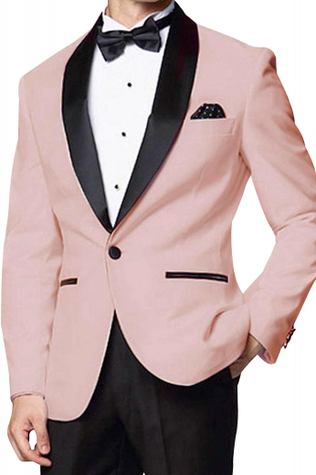 Mens tailor made slim fit tuxedo in 120s superwool. Features a custom made tuxedo jacket and bespoke tux pants. The mens made to order slim fit dinner jacket has an iconic display of shawl collar with black satin facing lapels, an angled upper welt pocket, 2 satin piped lower welt pockets, and a center vent. The mens handmade slim fit dinner pants are ideal for weddings and they feature 2 front slash pockets, a zip fly, and 2 back pockets. You can buy this mens bespoke fuschia dinner suit at My Custom Tailor at affordable rates.