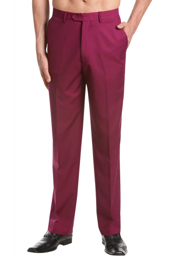 These mens handmade slim fit cotton dress pants from the iconic range of custom made formals at My Custom Tailor are exclusively designed for men who like to stay stylish at work. These mens handmade burgundy dress pants feature deftly hand sewn cuff hems at the bottom, extended belt loops, and a 2 point button and hook for front closure. With a zip fly, 2 front slash pockets, and 2 back pockets, these mens tailor made slim fit dress pants are ideal workwear for all seasons. Wear them to feel luxury like never before.