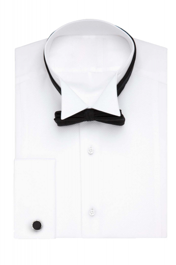 This ultra-stylish mens handmade white tuxedo shirt in broadcloth is a must have garment for all stylish men. You can wear this mens custom made slim fit tuxedo shirt to weddings and black tie events. With an iconic display of a deftly hand sewn wing tip collar, an intricately designed bib front in placket style, and 2 elegant squared edge french cuffs, this mens bespoke dinner shirt is just the right purchase to settle the fashion frenzy in you. Buy at affordable rates at My Custom Tailor to be a trendsetter wherever you go.