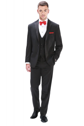 This mens tailor made black tuxedo in wool features a mens handmade slim fit vest, a mens tailor made tuxedo jacket with 2 front close buttons, and mens custom made slim fit suit pants. The mens handmade wool vest features a satin back with an adjustable buckle and 4 front close buttons. The mens bespoke black tuxedo jacket features 2 rolled notch lapels with a boutonniere on the left lapel. The mens tailor made slim fit dress pants have extended belt loops and a 2 point button and hook and a zip fly for front closure.