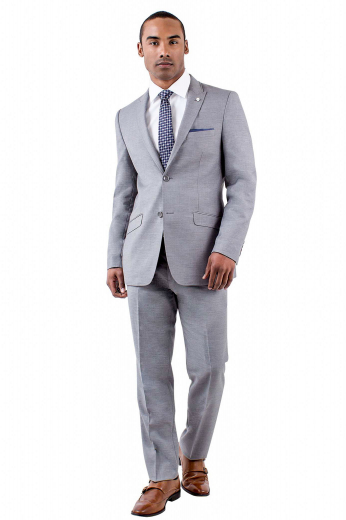 Mens handmade single breasted silver wool suit from the classic range of handmade formals at My custom Tailor. Perfect for formal gatherings and work. Presents a mens handmade slim fit jacket and mens tailor made suit pants with 2 point hook and button closure. The mens bespoke slim fit jacket has 2 rolled peak lapels, 1 boutonniere on the left lapel, 2 front close buttons, 2 slanted lower flap pockets, and 1 upper welt pocket. The mens bespoke dress pants feature hand sewn cuff hems, 2 front slash pockets, and 2 back pockets.