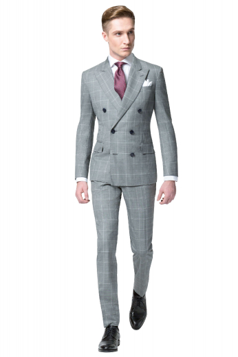 Slay in style in this mens handmade alpaca wool double breasted grey suit at My Custom Tailor, featuring a stylish mens handmade double breasted jacket and comfortable mens bespoke slim fit suit pants. The mens tailor made jacket in windowpane checks has 6 front buttons with 2 to close, 2 peak lapels, 1 upper welt pocket, and 2 lower flapped pockets. The mens custom made suit pants have an iconic 2 point button and hook closure and a zipper fly to support the extended belt loops, 2 front slash pockets, and 2 back pockets.