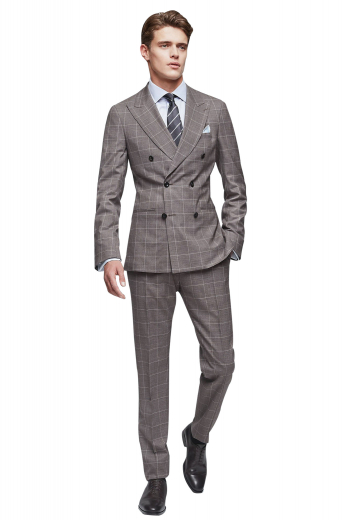 Iconic handmade double breasted cashmere wool plaid suit for men with a handmade slim fit jacket and bespoke suit pants. The mens tailor made suit pants feature a zipper fly, extended belt loops to support a 2 point button and hook closure, and 2 front slash pockets and 2 back pockets. The mens bespoke plaid jacket has a slim cut fitting designed to flaunt 2 slim ruled peak lapels, 2 lower flapped pockets, and 1 upper welt pocket. Buy this mens custom made wool suit to slay in style at work and corporate meetings.