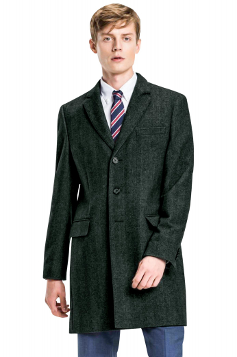 This iconic mens tailor made charcoal grey overcoat in 120s wool is made to complement the style of modern men at work. With a stunning single breasted pattern and 3 front close buttons, this mens bespoke slim fit topcoat features 2 trademark rolled notch lapels, 1 upper welt pocket, and 2 lower pockets with flaps. Buy this mens custom made wool overcoat at My Custom Tailor where weavers can also customise this stunning mens overcoat by hand stitching the edges of the lapels and pockets for extra sophistication and neatness.