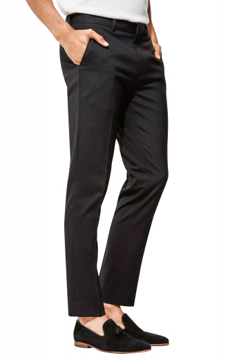 Mens handmade wool blend black dress pants. Fabricated for interviews, meetings, and corporate events. Designed by skilled tailors at My Custom Tailor, these mens made to order slim fit suit pants have extended belt loops, a two point hook and button closure, and a zipper fly. These iconic mens tailor made slacks have a crisp flat front with 2 front slash pockets and 2 elegantly hand sewn back pockets. Wear these stylish mens tailor made suit pants with mens handmade slim fit shirts to look every bit handsome from head to toe.