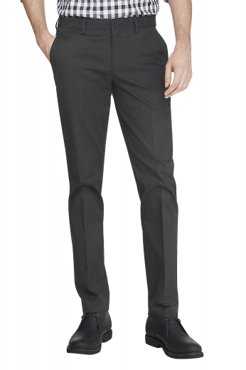 Mens tailor made slim fit wool pants in dark grey. Handmade with highest quality cashmere wool, these mens bespoke dress pants feature a high waist style augmented with stunning features like extended belt loops, a 2 point button and hook closure, and a zipper fly. These mens tailor made suit pants are perfect formals for interviews and board meetings. With 2 front slash pockets and 2 back pockets, these mens made to order suit pants will make you a trendsetter at work.