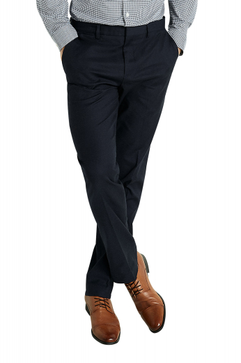 These stellar mens bespoke black dress pants in cashmere have a stunning slim cut fitting that looks classic at work. With an extended belt loop for extra comfort, these mens custom made slacks also feature 2 hand sewn front slash pockets and 2 back pockets. You can wear these mens handmade suit pants with mens handmade slim fit shirts and mens tailor made blazers for a corporate look. With a two point button and hook closure and a zipper fly, these must buy mens made to order suit pants will offer comfort like never before.