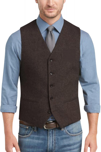 This mens handmade dark brown vest in English wool features a classic V-shaped neck with a stunning slim cut fitting, festooned with 5 front closure buttons. This custom made waistcoat for men has 2 piped lower pockets that make this vest an ideal corporate garment that you can wear to board meetings and interviews.