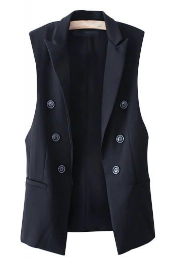 This amazingly beautiful womens tailor made dark blue vest in poplin cotton is a showstopper with a slim cut fitting and a double breasted pattern. With the inclusion of 6 front buttons, 3 to close, this elegant womens handmade vest looks pretty with a squared front bottom, 2 lower welted pockets, and 2 peak lapels. This handmade cotton vest for women also features a cloth back with an adjustable buckle for perfect body contouring around the waist. Buy it at My Custom Tailor and be the style icon you always wanted to be.