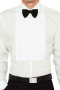 A tailor-made men's formal soft ivory dress shirt made to fit perfectly with any formal dress tuxedo. The ivory men's tuxedo shirt features a front placket on a slim cut design.