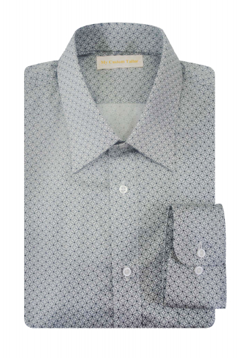 This handsome mens custom made light grey cotton shirt features a perfectly sewn Ainsley collar with 2 1/2 inch wide collar points, a classy placket front, and a super comfortable plain back. This mens handmade dress shirt features elegant rounded barrel cuffs that look utterly classy. It can be worn to meetings, interviews, and other corporate events. Buy this mens made to order slim fit shirt at My Custom Tailor to upgrade your wardrobe this season.