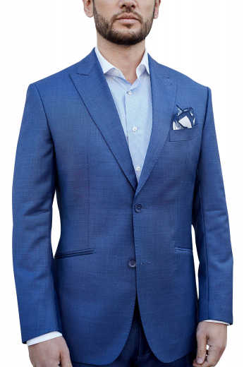 Coming from the house of premium wool garments at My Custom Tailor, this mens bespoke french blue sports jacket is a single breasted stunner with 2 3-inch-wide notch lapels, 1 stunning boutonniere on the left lapel, and 2 front close buttons. This tailor made mens blazer looks every bit classy with 2 slanted double piped lower pockets and a neatly sewn upper welt pocket. The edges of the lapels and pockets of this men custom made wool suit can also be hand stitched. Buy it to experience luxury within budget.