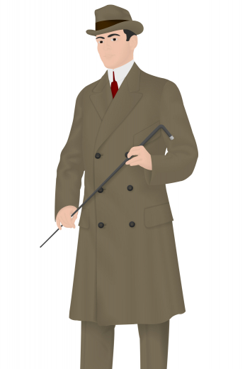 Behold a made to measure men's vintage coat. Made by expert tailors, it comes with a flattering slim cut design that is above knee length, a double breasted design that looks absolutely dashing, peak lapels, standard pockets with flaps and six buttons. All custom made to make you look fabulous.