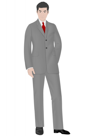 This slim fit men's vintage suit features a pair of flat front suit pants with a standard two-point button and hook closure, front slash pocket, standard belt loop with a classic four pocket design. These hand tailored vintage pants are elegantly paired with a men's stylishly slim fit suit jacket featuring a single breast and two button design, notch lapels and angled welt pockets.