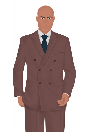 This mens custom made vintage-style suit in cashmere wool sports a double-breasted slim-fit jacket and a classic custom pant. The mens bespoke vintage blazer flaunts 6 front buttons with 3 to close, iconic peak lapels, 2 lower pockets with flaps, and 1 upper welt pocket. The mens handmade suit pant has a 2 button and hook closure further secured with a zipper fly.