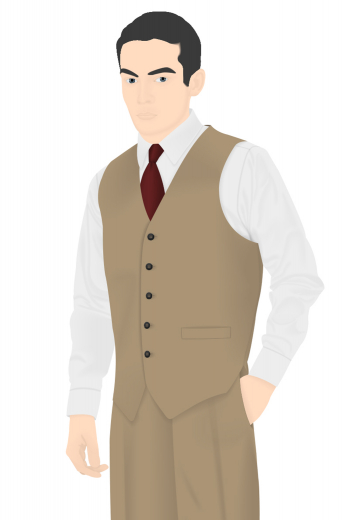 A skillfully hand tailored men's one of a kind vintage waistcoat in a flattering camel. This men's vintage vest has remarkably stylish features such as a slim cut single breasted design, a classic v-neck with no lapels, a superb high gorge, and a cloth back with an adjustable buckle. This five button men's vintage waistcoat also has welted lower pockets that would give any formal suit an elegant and smooth finish.
