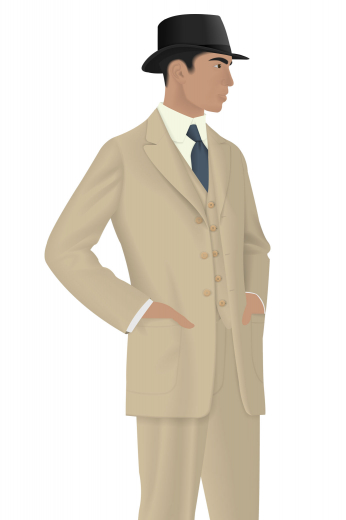 A three-piece men's made to measure suit composed of a sophisticated pair of slim fit flat front formal pants with a single breasted slim cut v-neck vest with a standard gorge and an adjustable cloth back. To complete this elegant men's classic look is a slim cut men's vintage two-button suit jacket.