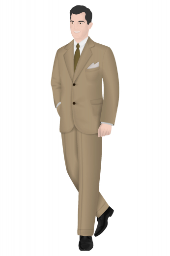 View this men's made to measure two-piece suit composed of a sophisticated pair of slim fit flat front formal pants with a single breasted slim cut men's vintage two button suit jacket. The jacket features two buttons, notch lapels, medium gorge, and standard welt pocket. The stylish pants feature standard two-point button and hook closure, flat front pleat style, slash front pocket, two back pockets and standard belt loops. This vintage suit truly is a superb piece to own.