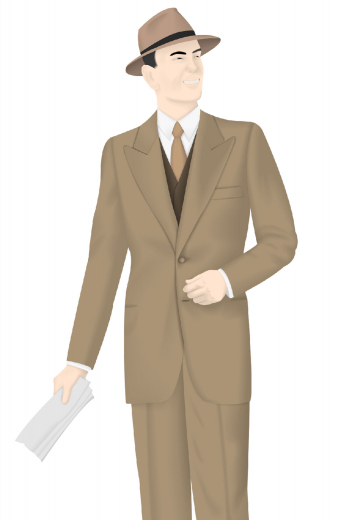 Inspired by the 1930s Winter Suit Design Vintage Collection, this suit features classic 2 buttons, wide peak lapels with a wide padded shoulder, wide peak lapels, pinched waist for hourglass shape look. The pants are high waisted, slash pockets, wide bottom legs with turn-ups. A single pressed line down the center of the leg adds the height effect. The vest has matching 6 buttons, without lapels, and four slit pockets. This is an eye-turner anyday!
