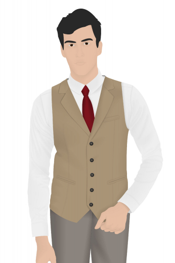 Stand tall in this slim cut single-breasted men's vintage vest that is skillfully made to measure just for you in a stunning shade of camel. This classic vest is made up of features such as a v-neck with no lapels, welted lower pockets, and a classic five button design. Paired with any formal vintage suit, this classic vest will look quite gorgeous on you.