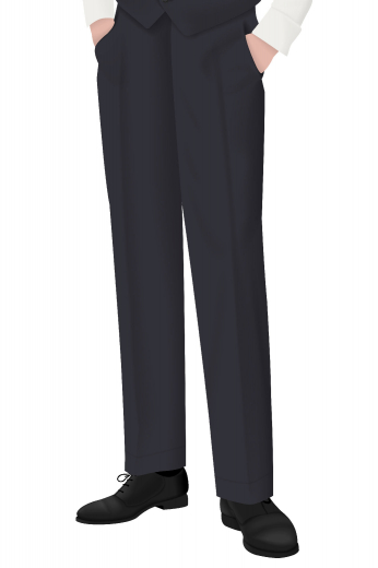 Look dashing in this hand tailored men's pair of flat front suit pants with a grand and flattering design that will look great in any formal setting. Featuring a classic flat front design, the men's pants also have quite a comfortable fit, a two-point button and hook closure, slash pockets, and so much more.
