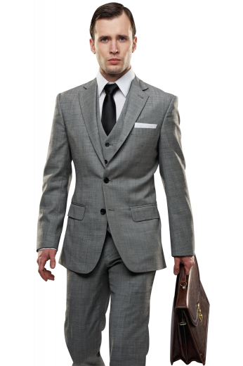 Look every bit handsome in this trendy mens handmade grey three piece suit in wool and linen. It features a slim fit mens bespoke suit pant, a single breasted mens handmade vest, and a slim cut mens custom suit jacket. The mens bespoke pant has a flat front with front slash pockets and a zipper fly. The V-neck mens custom vest has 5 front buttons to close. The iconic mens handmade blazer has a 2 button front closure, 2 lower flapped pockets, and 1 upper welt pocket.
