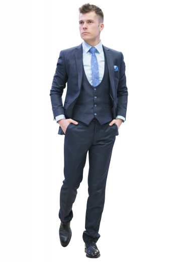 This iconic mens handmade three piece suit in blue, made with alpaca wool, is an ideal office wear. It consists of a mens custom suit pant, a mens bespoke vest, and a mens tailor made blazer. The mens bespoke pant flaunts extended belt loops for comfort and a stylish two point button and hook closure. The mens custom made vest has a curved U-neck pattern with a 4 front button closure. The mens bespoke suit jacket is an elegant slim fit garment with a checkered pattern and 2 front closure buttons.