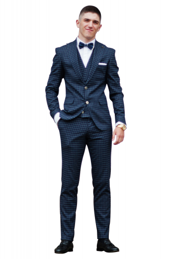 This elegant mens handmade 3 piece blue suit with a stunning checkered pattern is woven with premium quality wool at My Custom Tailor. It is a modish collection of 1 mens bespoke pant, 1 mens custom vest, and 1 mens slim fit blazer. The mens suit pant has a flat front, a zipper fly, front slash pockets, and a two point button closure. The mens bespoke vest has a slim cut finish with an iconic shawl collar. The mens slim fit bespoke blazer has 2 front close buttons, 2 lower pockets with flaps, and 1 upper welt pocket.