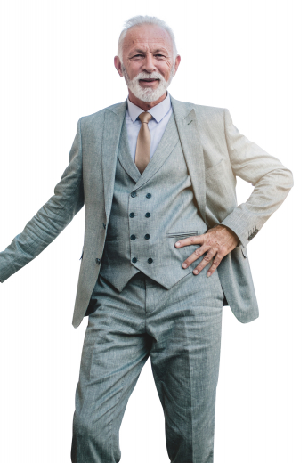 This handmade grey three piece suit for men is an iconic formal wear that features 1 slim fit mens bespoke pant with slash front pockets and a zipper fly to close, 1 mens tailor made vest with 6 front buttons, 3 to close and a shawl collar, and an elegant mens custom made blazer that has a slim cut fit with 2 front close buttons and 2 slim ruled peak lapels. This must buy grey three piece suit is made with alpaca wool at My Custom Tailor. Order online to include it in your premium collection of mens bespoke suits.