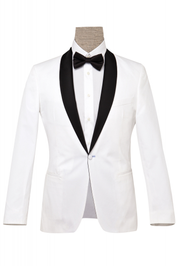 This men's white tuxedo jacket is custom made in a single breasted button closure, shawl collar and peak lapels. It is tailor made to measure to a perfect slim fit in a fine wool blend. This white dinner jacket would put Bond to shame!