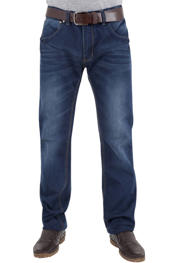 These men's dark blue denim jeans are tailor made in a fine denim and cut to a slim fit, featuring extended belt loops and levi style pockets. It is a fantastic casual wardrobe staple!