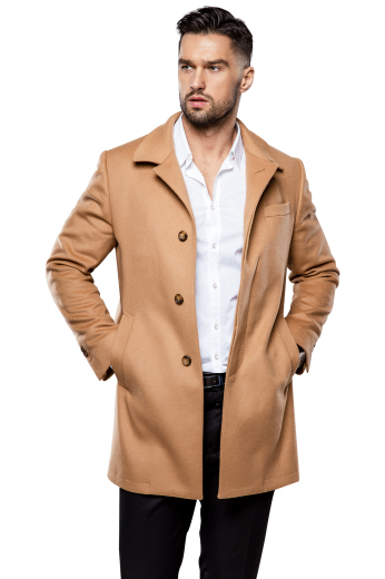 This men's custom made tan colored coat is sure to become one your favorite winter staples. It is tailor made in a fine wool and tweed, featuring a single breasted button closure, slanted welt pockets, and wide notch lapels.