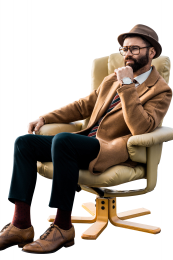 This men's custom made caramel colored coat is tailor made in a fine wool and tweed and cut to a slim fit, featuring a single breasted button closure, slanted welt pockets, and buttoned cuffs.