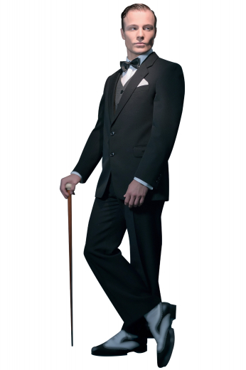 This men's pant suit is tailor made in a fine wool blend and cut in a slim fit, featuring notch lapels, five button single breasted button closures, and hand sewn cuffs.