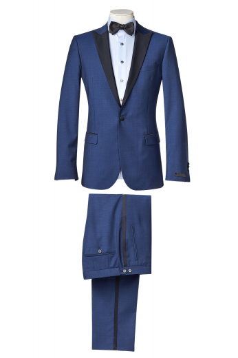 This men's pant suit is tailor made in a fine wool blend and cut in a slim fit, featuring notch lapels, single breasted button closures, and satin peak lapels.