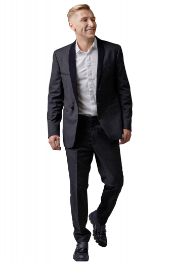 This men's pant suit is tailor made in a fine wool blend and cut to a slim fit, featuring a single breasted button closure, shawl collar, and slash pockets.