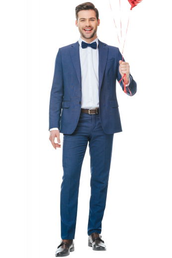 This men's pant suit is tailor made in a fine wool blend and cut to a slim fit, featuring a single breasted button closure, notch lapels, and slash pockets.