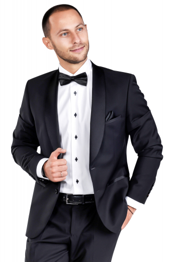 This men's pant suit is tailor made in a wool blend to a slim fit, featuring a shawl collar and a single breasted button closure.