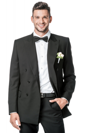 This men's pant suit is tailor made to a slim fit in a fine wool blend. It features slash pocket, satin facing lapels, and a single breasted button closure.