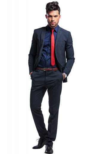 This men's pant suit is tailor made in a slim fit, featuring a single breasted button closure and slash pockets. It is perfect for all formal occasions.