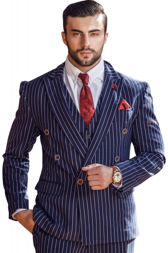 A stunning men's striped navy custom made to measure suit set made up of a navy jacket  tailor made to a slim cut, featuring a double breasted button closure and peak lapels and slim fit flattering pants.
