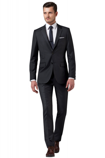 A custom hand tailored black men's suit set is tailor in a fine wool blend to fit you perfectly, cut to a slim fit and featuring slash pockets.