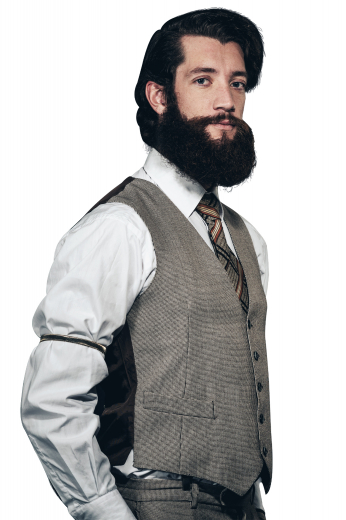 A classic tailored men's grey custom tailored vest is tailor made in a wool blend, featuring a single breasted five button closure and welted lower pockets, perfect for any formal occasion.