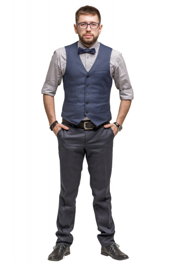 In and elegant blue-grey blended fabric is this hand tailored men's slim cut vest is tailor made featuring a single breasted closure and v neck, with a left welt pocket.