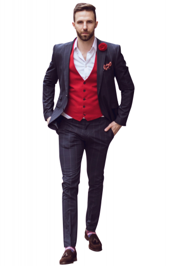 A flattering and stylish men's made to measure bold red slim cut vest is tailor made in a wool blend, featuring a single breasted button closure and a v neck.