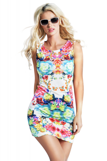 A flattering women's ultra fitting mini skirt custom made just for you with a colorful and gorgeous floral design. This slim fit colorful dress is tailor made in a fine blend featuring a round neck and landing just above the knee.