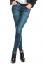 This women's slim fit pant is tailor made in a fine denim blend. It is custom made to a knee length with four practical pockets, perfect for casual looks.