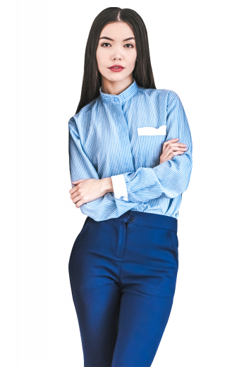 A stylish pair of custom tailored women's blue formal pants. This women's pant is tailor made in a wool blend. It features front pockets and a standard button closure, perfect for all occasions.